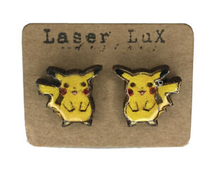 Pikachu Earrings Painted - Natural Basswood - Hypoallergenic Titanium Studs