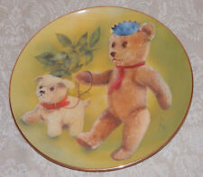 "Vtg 1983 TEDDY BEAR & Puppy DOG PLATE ""Buster and Sam"" THIS OLE BEAR Janet Tuck"
