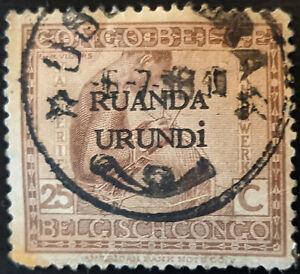 Stamp Ruanda-Urundi SG42 1924 25c Basket Maker Overprinted Used