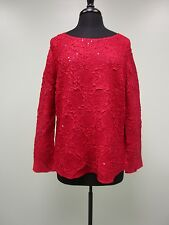 Toffee Apple Top Shirt Blouse Stretch Sequins Long-Sleeved Red Size XL NWT