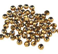 25 TSCHECHISCHE KRISTALL PERLEN GLAS RONDELLE 4mm Fire-Polished Gold BEST X46