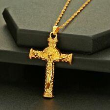Gold Big Cross Pendant Religious Jesus Christ Necklaces Men Women Church Jewelry