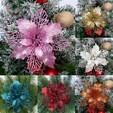 2020 10X Christmas Large Poinsettia Glitter Flower Tree Hanging Party Decoration