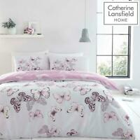 Catherine Lansfield Scatter Butterfly Purple Duvet Covers Grey Quilt Bedding Set