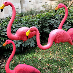 Set of 2/4 Pink Flamingo Bird Lawn Pond Ornaments Patio Garden Decoration Statue