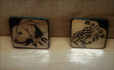 Hundemarke Edelstahl 3 x 3cm, GRAVUR  mit Ihre Hunderasse Logo, Name, Tel.....