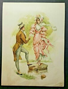 "Original Antique I899 Litho-Graph Gentleman w/ Pink Lady No 356 6"" x 8"" (B5)"