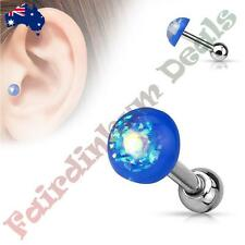316L Surgical Steel Tragus/Cartilage Stud with Blue Glitter Opal Dome Top