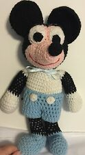 """Vintage Hand Made Hand knitted Mickey Mouse doll 15"""" Adorable And Unique"""