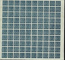 Scott # J33 - 1919 - ' Numerals of Value ', Thin Laid Paper - Sheet of 100