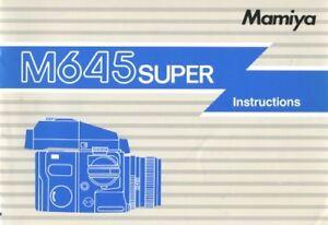 Mamiya M645 Super Instruction Manual Original