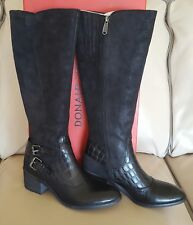 Donald J Pliner Crocco-Embossed Dulce Riding Boot, Black, Size 8.5M, New,$398.0