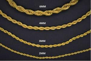 18K Yellow Gold Plated 316L ANTI TARNISH Stainless Steel Rope Chain 2mm-6mm