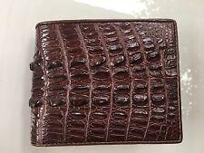 100% Genuine crocodile tail skin leather bifold men dark brown wallet