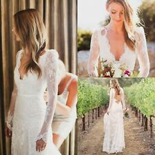 Sexy V Neck Lace Open Back Bridal Gown Wedding Dress Custom Size 2 4 6 8 10 12 +