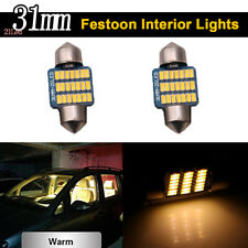 2X Canbus 31mm 3014 21SMD Festoon Led Interior Map Dome Lights Bulbs Warm White