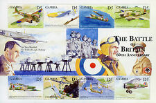 Gambia 2000 MNH WWII WW2 Battle of Britain 8v M/S II Aviation Spitfires Stamps