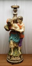 Large Vintage PIERI Chalk-ware Chalkware Statue LAMP Boy and Girl