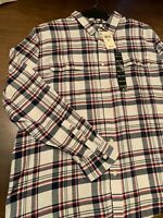 NWT Lucky Brand Men's XXL LS Saturday Stretch Classic Fit White Flannel Shirt