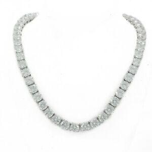 Unisex 1 Row Silver Finish Solitaire 3mm-6mm Tennis Chain Necklace 16-30 inches