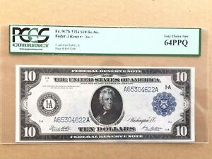 1914 $10 Federal Reserve Note Boston Fr. 907b - Graded by PCGS 64 PPQ