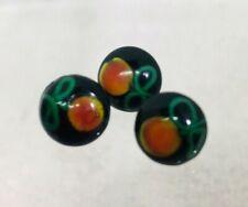 """3 Handmade Glass Button Pink Roses Metal Shank 3/8"""" A78"""