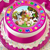 FARM YARD ANIMALS PERSONALISED BIRTHDAY 7.5 INCH PRECUT EDIBLE CAKE TOPPER A375K