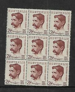 1949 Henry Lawson 2 ½ d Block of 9  Stamps MUH/MNH