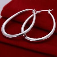 Womens Sterling Silver plated Classic 41mm Oval Shaped Hoop Earrings