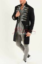 Black Cotton Tailcoat Gothic Steampunk Vintage Dress Coat Pirate Military Top