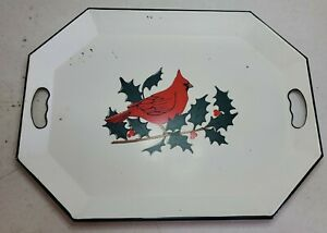 Vintage SERVING TRAY Nashco White Metal Hand Painted Cardinal on Holly Branch