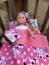 Baby Doll Quilt Pillows Minnie Mouse Theme PINKS  POLKA DOTS 3 PIECE SET