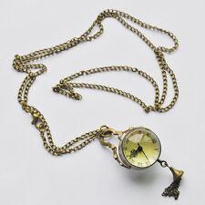 New Vintage Style Glass Ball Steampunk Pocket Watch Antique Brass Necklace L6