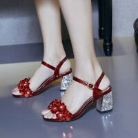 Women Ankle Strap Sandals Floral Patent Leather Slingback Wedding Shoes Open Toe