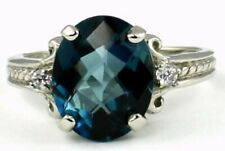 925 Sterling Silver Ladies Ring, London Blue Topaz, SR136