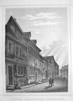 GERMANY Eisleben Reformer Martin Luther 's House - 1860 Original Engraving Print