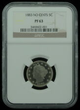 1883 US Mint No Cents 5 Five Cent Liberty Nickel Certified Coin NGC PF63