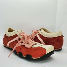 Diesel Evelyn Shoes Women 7 Leather Suede Red Burgundy Pink Laces Sneakers