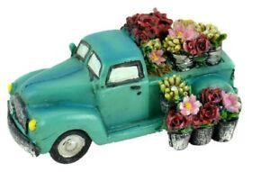 Vintage Turquoise Truck with Flowers MI 56168 Miniature Fairy Garden