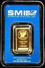 GOLD SUNSHINE MINTING EAGLE 5 GRAMS .9999 GOLD BAR