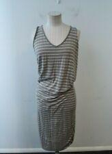 Athleta Racerback Dress Medium Grey & White Striped Ruched Sleeveless Womens