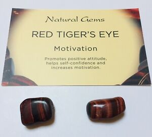 2 Small Red Tiger Eye Tumblestones with organza bag and crystal card