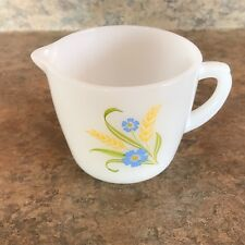 "Fire King CREAMER ""Forget Me Not"" Pattern Anchor Hocking Ovenware Made in USA"