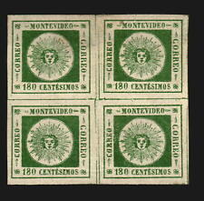 Uruguay 1859 Sun #11a exceptional gorgeous dark green color XF block of 4 MLH