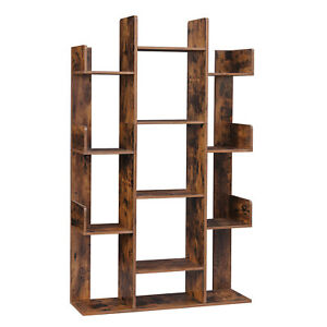 VASAGLE Bücherregal Baumform Standregal 8/13 Fächer Raumteiler Aktenregal Holz