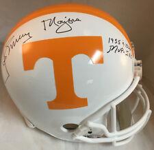 """Johnny Majors Signed Tennessee Full Size Helmet w/ """"1955 1956 MVP-SEC"""" PROOF JSA"""