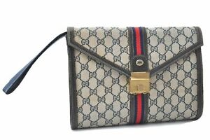 Authentic GUCCI Sherry Line Clutch Bag GG PVC Leather Navy Blue D0354