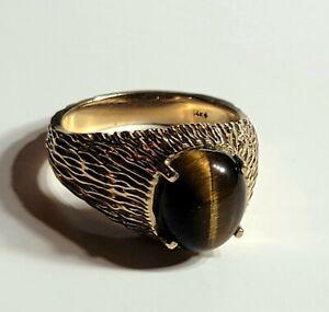 Fine Men's 14K Yellow Gold Filigree Design Tiger's Eye / Cat's Eye Ring size 10
