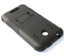 For HTC Desire 510 512 -HARD&SOFT RUBBER HYBRID ARMOR CASE COVER BLACK KICKSTAND