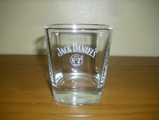 JACK DANIELS GLASS WHITE EMBOSSED ON FRONT OF GLASS